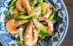 stir-fry leek with prawns